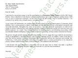 Generic Cover Letter for Teachers Elementary Teacher Cover Letter Sample