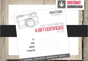 Gift Certificate Template for Photographers Gift Card Gift Certificate Template for Photographers Camera