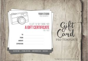 Gift Certificate Template for Photographers Gift Card Template Digital Gift Certificate Photoshop