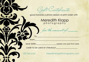 Gift Certificate Template for Photographers Gift Certificates Available Meredith Klapp Photography