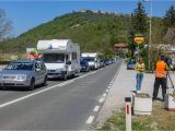 Give Your Id Card to the Border Guard Entering Croatia Traffic Jams and Waiting Times Should