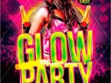 Glow In the Dark Party Flyer Template Free Glow Party Flyer Template
