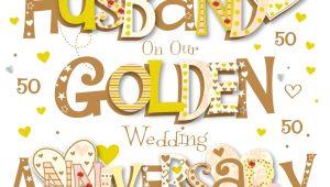Golden Wedding Anniversary Card for Husband Husband Golden 50th Wedding Anniversary Greeting Card