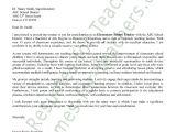 Good Cover Letters for Teachers Elementary Teacher Cover Letter Sample
