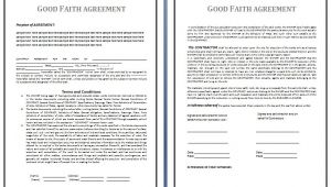 Good Faith Contract Template Good Faith Agreement Template Free Business Templates