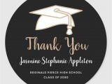 Graduation Thank You Card Messages Black Gold Graduation Thank You Classic Round Sticker