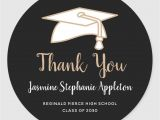 Graduation Thank You Card Wording Black Gold Graduation Thank You Classic Round Sticker