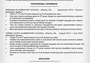 Great Teacher Resumes Samples Elementary Teacher Resume Sample Writing Tips Resume