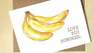 Greeting Banana Greeting Card Banana Watercolor Banana Love You Bunches Greeting Card Banana