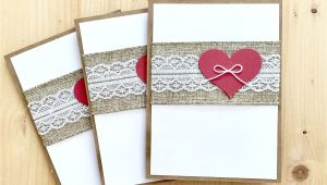 Greeting Card Delivery New Zealand Handmade Greeting Cards Rustic Valentine Card Set Burlap