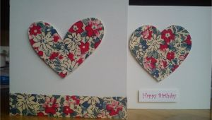 Greeting Card for Anniversary Handmade Handmade Fabric Heart Cards with Images Fabric Cards