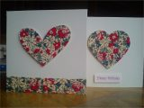 Greeting Card Handmade for Birthday Handmade Fabric Heart Cards with Images Fabric Cards