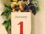 Greeting Card Happy New Year A Happy New Year to You Pansies Above Calendar January 1