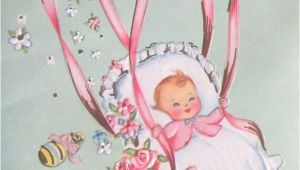 Greeting Card New Born Baby Girl Vintage Baby Congratulations Greeting Card Parachute Little