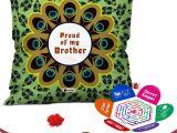 Greeting Card On Raksha Bandhan Indigifts Raksha Bandhan Gifts for Brother Set Of Proud Of