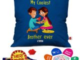 Greeting Card Size In Cm Indigifts Rakhi for Brother Pyara Bhaiya with Roli Rakshabandhan Greeting Card Coolest Brother Ever Blue Printed 12×12 Cushion with Filler Combo
