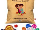 Greeting Card Size In Cm Indigifts Rakhi for Brother Pyara Bhaiya with Roli Rakshabandhan Greeting Card Handsome Brother Belongs to Me Beidge Printed 12×12 Cushion with