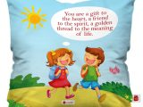 Greeting Card Size In Cm Indigifts Rakhi for Brother with Gifts Printed Blue Cushion