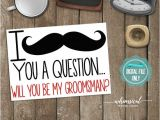 Groomsmen Proposal Template ask Groomsman Proposal Card Quot Mustache Quot Printable File