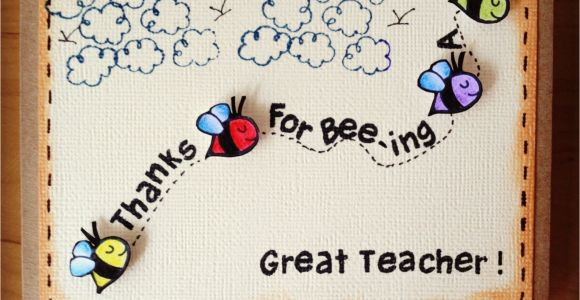 Handmade Card for Teachers Day M203 Thanks for Bee Ing A Great Teacher with Images