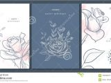 Happy Birthday Card Design Drawing Happy Birthday Greeting Cards with Hand Drawn Flowers Vector