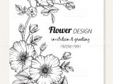 Happy Birthday Card Design Drawing Rose Flower Frame Drawing Illustration for Invitation and