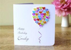 Happy Birthday Card Handmade Ideas Personalised Birthday Card Customised Colourful Balloon