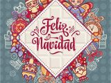 Happy Birthday Card In Spanish Feliz Navidad Xmas Card On Spanish Language Stock Vector