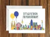 Happy Birthday Card In Spanish Lets Go to Spain for Your Birthday Blank Greeting Card