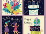 Happy Birthday Card Little Girl Birthday Cards Set Bouquet Flowers Hand Birthday Cake