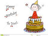 Happy Birthday Card Little Girl Happy Birthday Stock Vector Illustration Of Celebrate