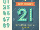 Happy Birthday Card Name Editor Retro Birthday Card with Light Bulb Sign Numbers Stock