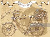 Happy Birthday Card New Zealand Alles Gute Zum Geburtstagkarte Mit Alten Fahrrad Und Blumen
