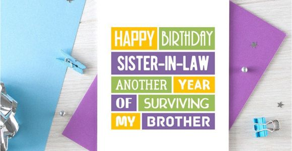 Happy Birthday Card Sister In Law Funny Sister In Law Birthday Card Sister In Law Card