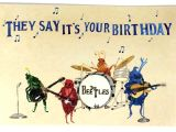 Happy Birthday Card with Music Beatles Birthday Card Musical Card Design Template