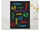 Happy Birthday Card with Name and Photo Personalized Greeting Card Black 65th Birthday Card