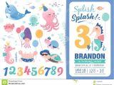 Happy Birthday Invitation Card Design Birthday Party Invitation Card Template Stock Vector