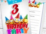Happy Birthday Invitation Card Images Details About Emoji 3rd Birthday Invitations Ready to Write with Envelopes Pack 10