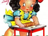 Happy Birthday Little Sister Card Little Girl Baking Greetings Card Vintage by