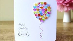 Happy Birthday Love Card with Name Personalised Birthday Card Customised Colourful Balloon