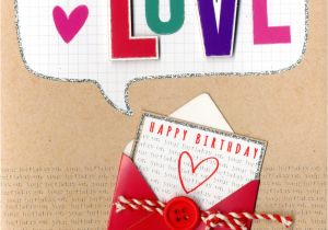 Happy Birthday Love Card with Name with Love Happy Birthday Embellished Greeting Card