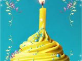 Happy Birthday Quotes for Card Happy Birthday Greeting Yellow Cupcake W Candle Mit Bildern
