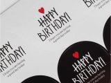Happy Birthday Stickers for Card Making New Handmade Kraft Tag Sticker Black White Circular Series Happy Birthday Stamp Stickers Package Label Cards Craft Wedding Decor