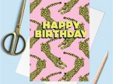 Happy Birthday Wishes Card with Name Happy Birthday Leopard Greetings Card