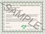 Hard Drive Certificate Of Destruction Template West Coast Recycler Secure Data Destruction