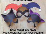 Harley Quinn Mask Template Gotham Girls Inspired 3d Printable Masks Instant Download