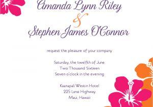 Hawaiian Menu Template Hawaiian Wedding Invitation