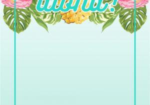 Hawaiian Menu Template Pineapple Luau Perimeter Free Printable Birthday