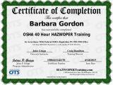 Hazmat Training Certificate Template 40 Hour Hazwoper Training Certificate