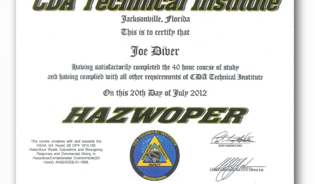 training certificate technical template hazmat cda admissions certifications williamson ga tablet